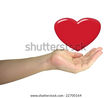 Human lady hand holding red heart isolated over white background