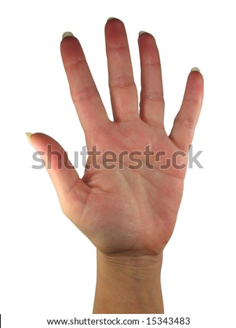 Human lady hand showing five fingers isolated over white background