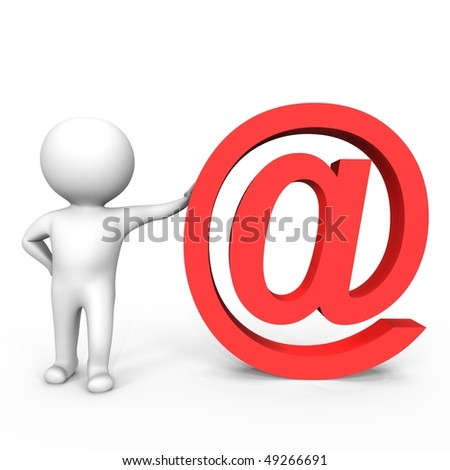 Human leans on a email symbol - a 3d image - stock photo