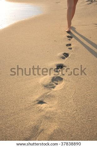 Human legs. Beautiful woman walking on the beach - stock photo