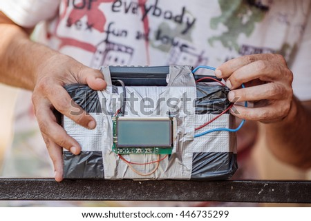 Human makes timebomb. terrorism and dangerous life concept - stock photo