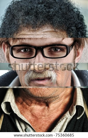 Human male face made of several different people, artistic concept collage - stock photo