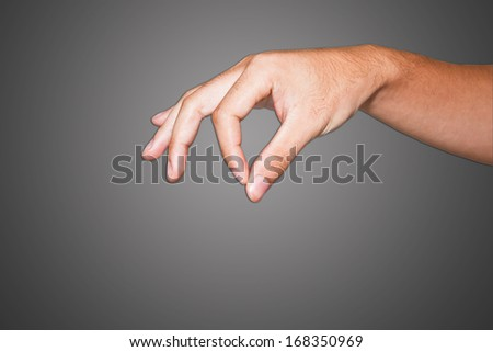 human male hand on the isolated background