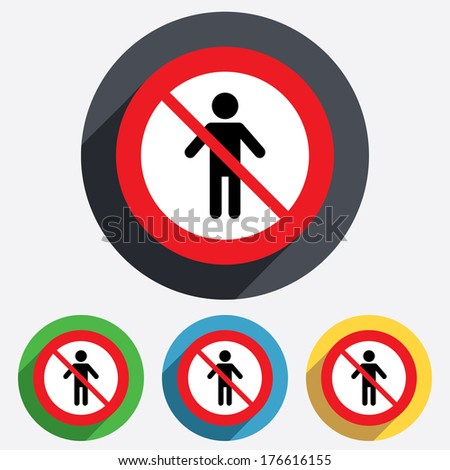 Human male not allowed sign icon. No Man Person symbol. Male toilet. Red circle prohibition sign. Stop flat symbol. - stock photo