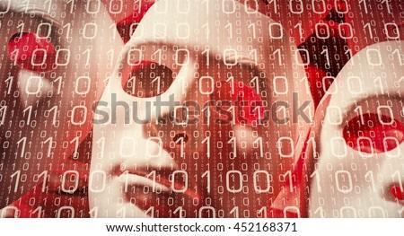 Human mask computer binary data hacker cyber attack metaphor - stock photo