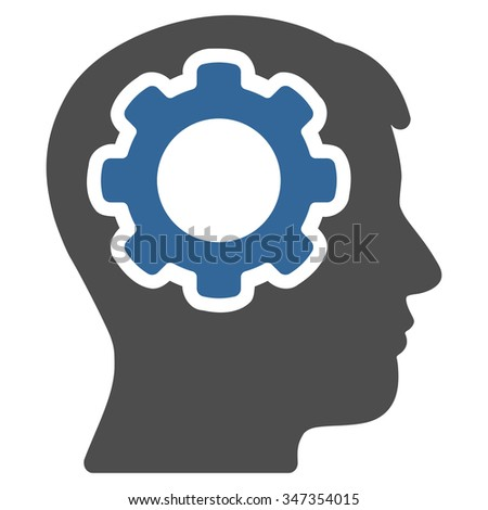 Human Mind glyph icon. Style is bicolor flat symbol, cobalt and gray colors, rounded angles, white background. - stock photo