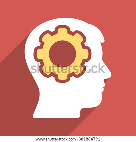 Human Mind long shadow glyph icon. Style is a flat light symbol with rounded angles on a red square background. - stock photo
