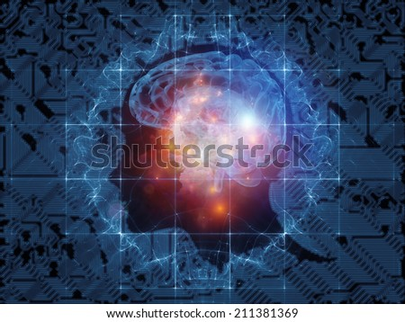 Human Mind series. Abstract arrangement of brain, human outlines and fractal elements suitable as background for projects on technology, science, education and human mind - stock photo