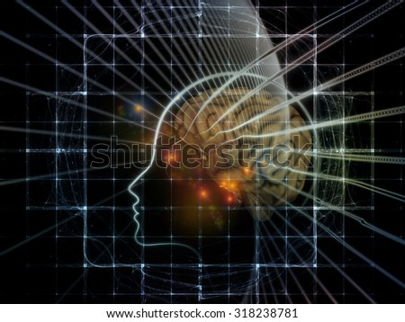 Human Mind series. Abstract arrangement of brain, human outlines and fractal elements suitable as background for projects on technology, science, education and human mind
