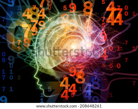 Human Mind series. Composition of  brain, human outlines and fractal elements to serve as a supporting backdrop for projects on technology, science, education and human mind - stock photo