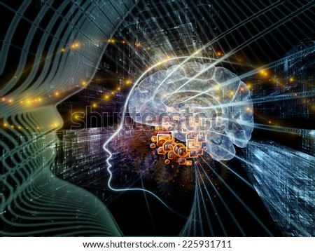 Human Mind series. Composition of  brain, human outlines and fractal elements to serve as a supporting backdrop for projects on technology, science, education and human mind