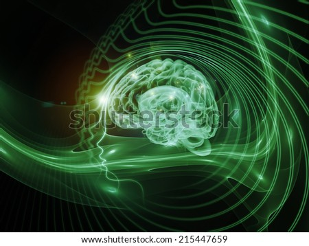 Human Mind series. Composition of brain, human outlines and fractal elements with metaphorical relationship to technology, science, education and human mind
