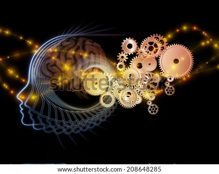 Human Mind series. Graphic composition of brain, human outlines and fractal elements to serve as complimentary design for subject of technology, science, education and human mind - stock photo
