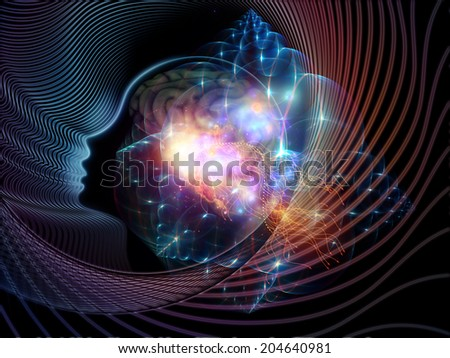 Human Mind series. Visually attractive backdrop made of brain, human outlines and fractal elements suitable as element for layouts on technology, science, education and human mind