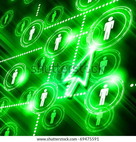 human models connected together in a social network pattern - stock photo