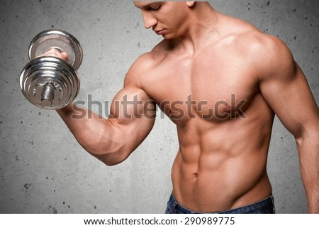 closeup muscular young man lifting weights stock photo 105116990, Muscles