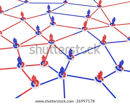 Human network sharing data for success and working business