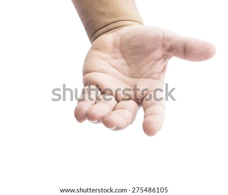 Human open empty hand with palms up isolated on white background. - stock photo