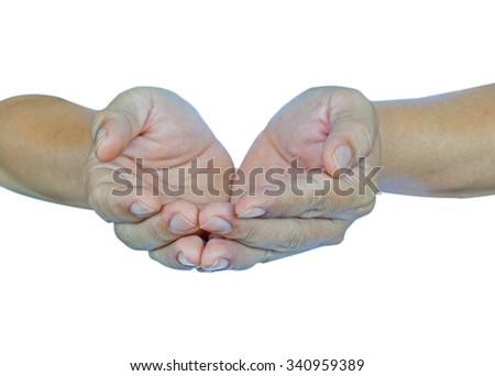 human open empty hands isolated on white  background