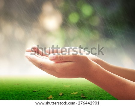 Human open empty hands with palms up over blurred nature background. - stock photo