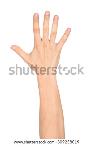 Human open hand sign against white background