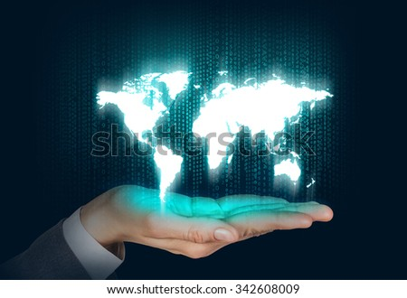Human open hand with world map on the matrix background. Elements of this image furnished by NASA - stock photo