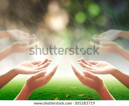 Human open two empty hands with palms up. Ask Pose Seek Beg Help Race God Well Soul Pray Dua Hajj Give Bless Quran Aura Heal Life Gift Eid Idea Islam Thank Room Candle Glow Prayer CSR Many Healthy. - stock photo