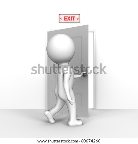Human opening the exit door - a 3d image - stock photo
