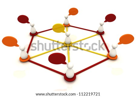 Human organization connection chart bubble diagram 3d render in red color - stock photo