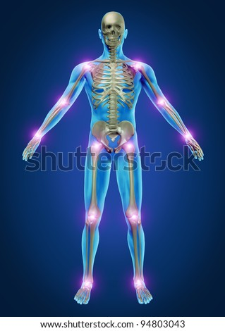 Human painful joints with the skeleton anatomy of the body with the sore joints glowing as a pain and injury or arthritis illness symbol for health care and medical  symptoms. - stock photo