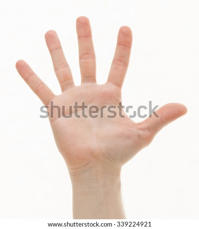 Human palm on white background