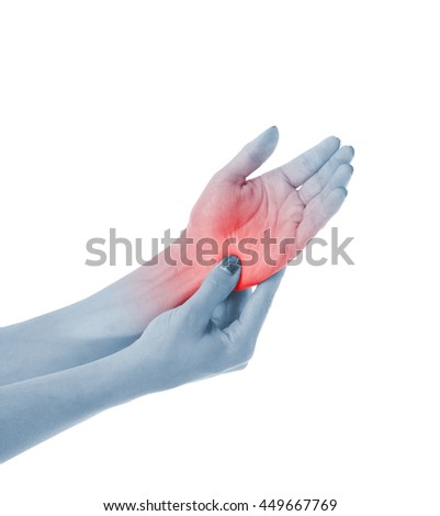 Human palm pain with an anatomy injury caused by sports accident or arthritis as a skeletal joint problem medical health care concept. - stock photo