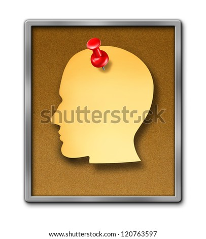 Human paper note reminder in the shape of a head as a blank yellow sheet and a red thumb tack pin on a cork board frame as a health care dementia symbol of memories and a business schedule reminder.