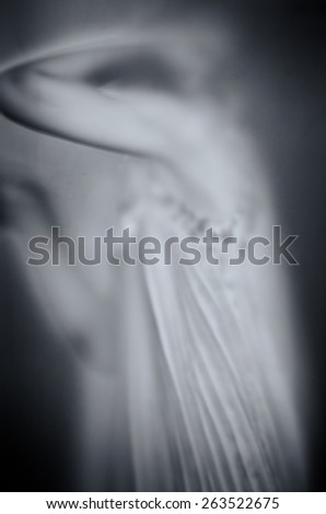 human part of body torso behind glass black and white effect - stock photo
