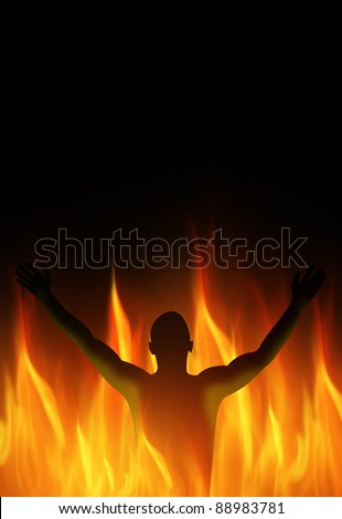 Human person must burn in the fire - stock photo