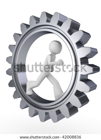 Human power (man walking inside gear) - stock photo