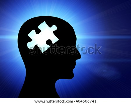 Human profile and brain in the form of the puzzle. On blue background - stock photo