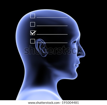 Human profile and checklist. 3d - stock photo