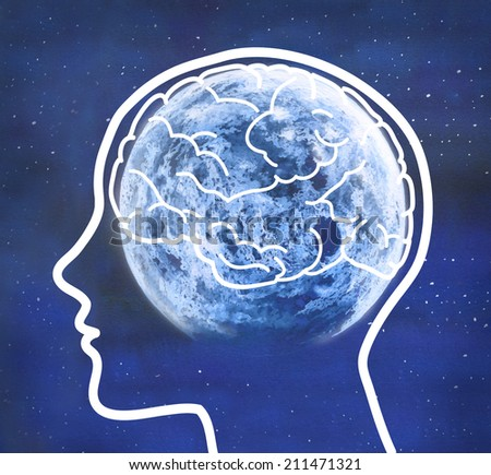 Human profile and visible brain with full moon in a blue starry night. Concept illustration.