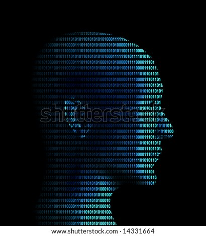 Human profile from a binary code - stock photo
