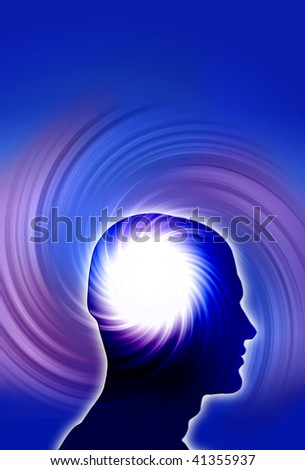 human profile with mystical whirl like a concept of power of mind, psychology, intelligence, intellect - stock photo