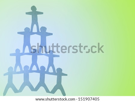 Human pyramid paper doll people. Copy space