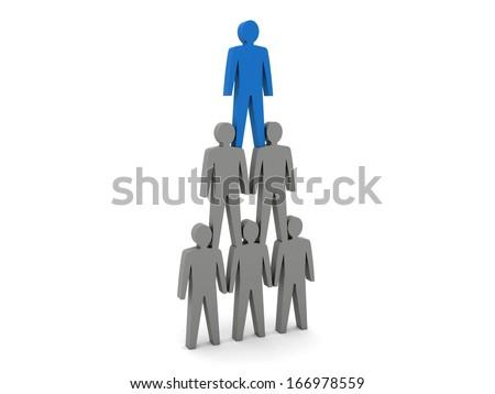 Human pyramid. Team hierarchy. Company boss. Concept 3D illustration - stock photo
