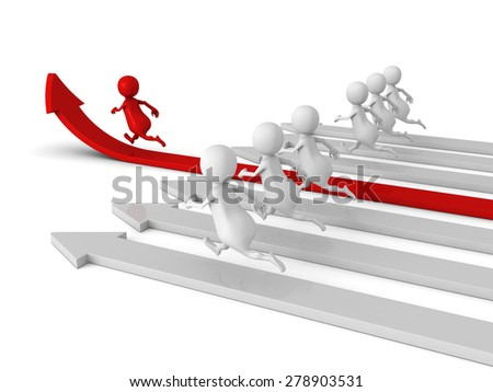 Human Race Competition Of 3d People. Success Winning Concept. 3d Render Illustration - stock photo