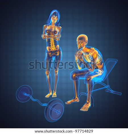 human radiography scan in gym room made in 3D - stock photo