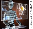 human radiography scan on hologram - stock photo