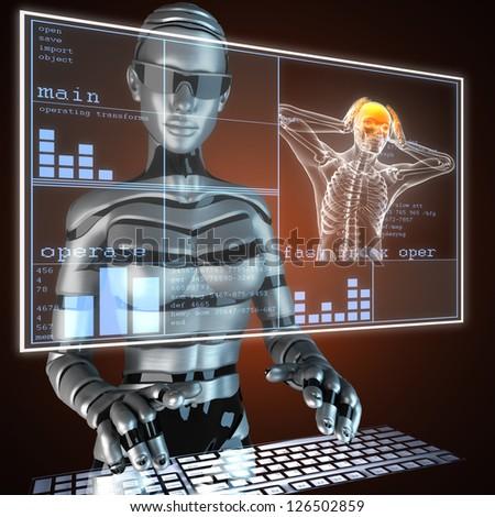 human radiography scan on LED - stock photo
