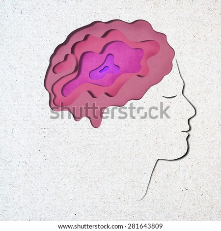 Human recycled paper craft on white background  - stock photo