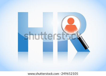 Human resource concept, HR text and magnifying glass - stock photo
