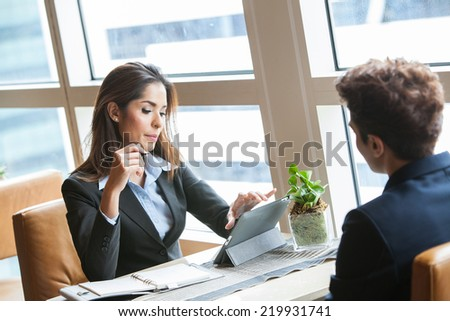 Human resource concept:Job interview. - stock photo